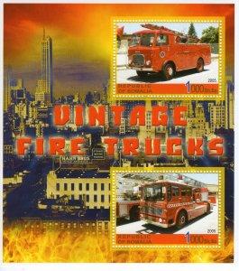 Somalia 2005 VINTAGE FIRE TRUCKS Souvenir Sheet Perforated MNH