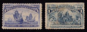 US SCOTT #233a RARE MH BLUE ERROR/LEFT STAMP 4c FLEET OF COLUMBUS 1893 FINE