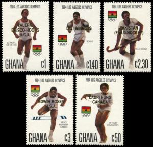 Ghana 945-949, MNH, Los Angeles Olympic Games winners