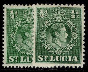 ST. LUCIA GVI SG128 + 128a, ½d PERF VARIEITES, M MINT.