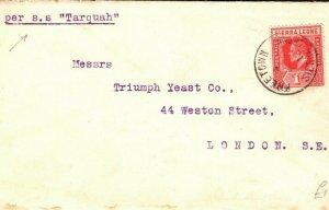 SIERRA LEONE Cover Per *SS Tarquah* Freetown GB London 1912 {samwells} PB352