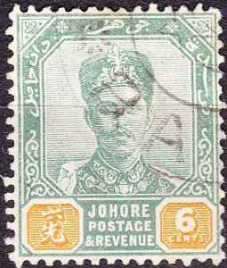 MALAYA JOHORE 1896 6 Cents Green & Yellow SG45 Used