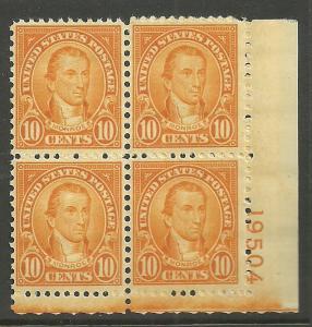 #642 Monroe Plate Block Mint NH #19504