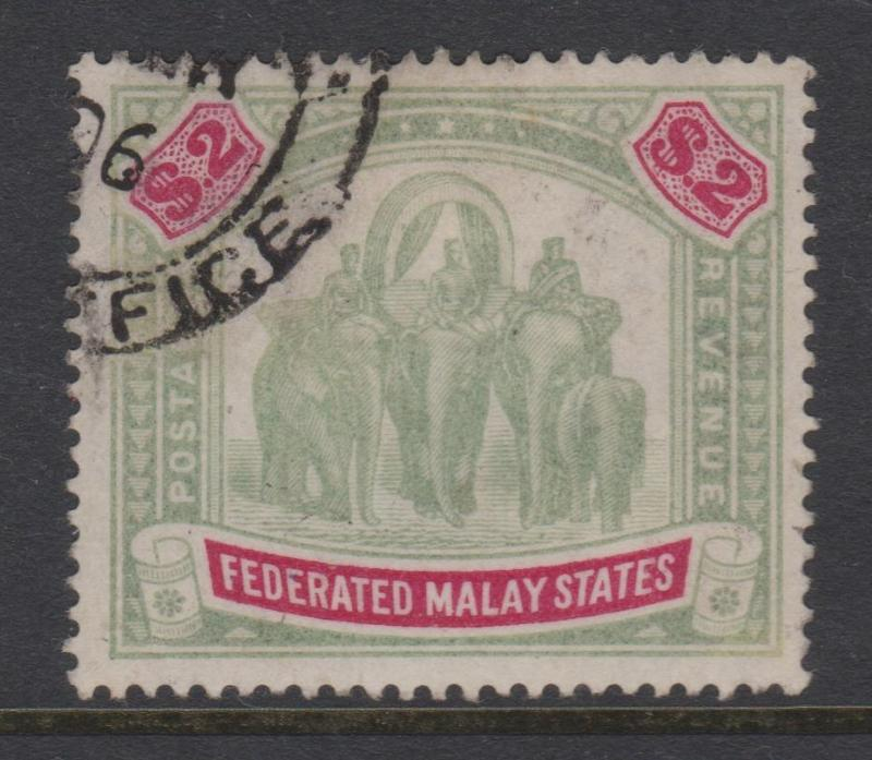 Federated Malay States 1900 $2.00 Sc#15 Mi#24 SG#24 Wmk Crown and CC VF Used