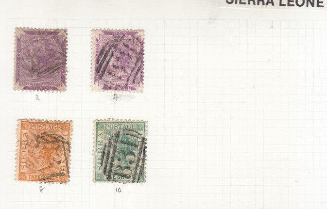 SIERRA LEONE VICTORIAN VALUES/SETS USED SG 2 TO SG 10