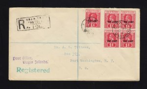 VIRGIN ISLANDS: 1919 Registered Cover to US - 1p WAR TAX X5