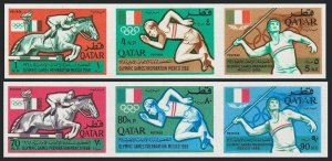 Qatar 103-103A imperf strips,MNH. Olympics Mexico-1968.Equestrian,Javelin,