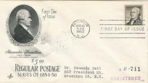 U.S., Scott #1053 First Day Cover, Sent Registered, Paterson, NJ, March 19, 1956
