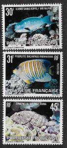 FRENCH POLYNESIA SC# 355-57 PVA GUM  VF/MOG 1982