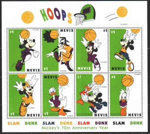 Nevis. 1998. Small sheet 1305-12. Basketball, animation, disney. MNH.