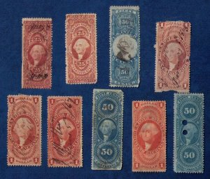 US 1862-1874 Used Sc R68-R69 MH & Others  (9) Revenue Stamps/Back Of Book F-VF