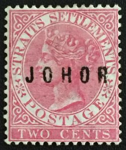Malaya 1886 JOHOR opt Straits Settlements QV 2c MH SG#9 M3000