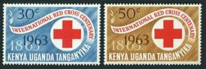 Kenya-Uganda-Tanganyika 142-143,MNH.Michel 130-131. Red Cross-100.1963.
