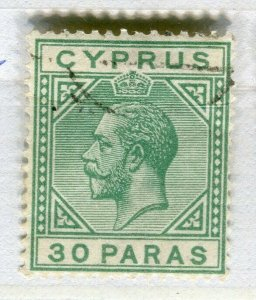 CYPRUS; 1922 early GV issue fine used 30pa. value