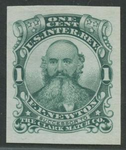 #RO135TC1 1c F.P. NEWTON MATCH LARGE DIE ON INDIA GREEN TRIAL COLOR BU8942