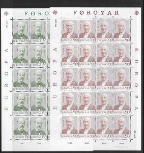 Faroe Island 43-4, 86-9 sheet stock MNH 8 cpl. sets vf, 2020 CV $356.00