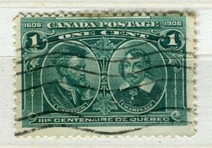 CANADA; 1905 early Quebec issue fine used 1c. value