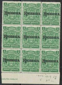 RHODESIA 1909 ARMS OVERPRINTED 1/2D MNH ** BLOCK
