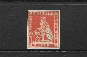 TUSCANY 1851-52  2s  BRICK RED  LION  MNH  PROOF     SG 6  Sc3