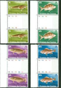 Tristan da Cunha # 243-46 Fish - Gutter Pairs (4) Mint NH