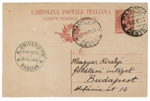 Italy 1923 Padova Uni Postal Card to Hungary - Lot 100917