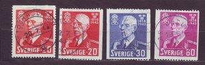 J22846 JLstamps 1943 sweden set used #338-41 king