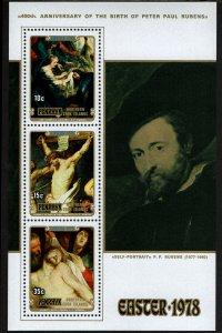 Penrhyn #101-103 and 103a Souvenir Sheet MNH - Painter Peter Paul Rubens (1978)