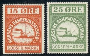 DENMARK Danish Private Ship Stamps, 2 different, NH, VF