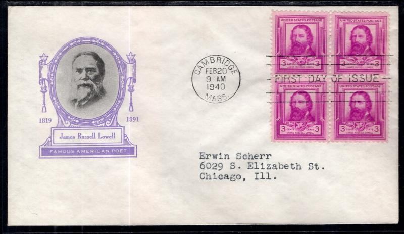 US 866 James Russell Lowell Block of Four Ioor Typed FDC