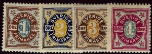 Sweden Vibrant & Attractive Sc #52-55 Mint F-VF...Fill a bargain spot!