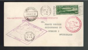 1930 USA Graf Zeppelin postcard cover Around the World to Switzerland # C13