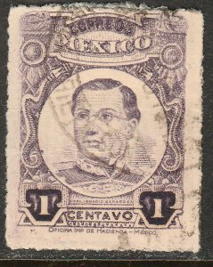 MEXICO 608, 1cent ROULETTED, USED. F-VF. (326)