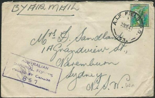AUSTRALIA 1944 forces in PAPUA censor cover AIF Field PO / 53..............12574