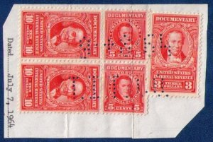 US Stamps Sc  #R478 Vertical Pair/Sc #R475 &Creased Pair 5c R465,T.I.T.Co Perfin