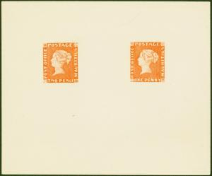 Mauritius 1847 POST OFFICE 1d and 2d in Orange-Red  SG1 and SG2 Reprint from t