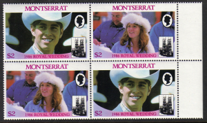 Montserrat #616 mint pairs, royal wedding