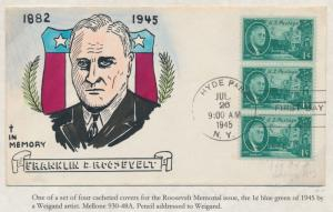 #930 FRANKLIN D. ROOSEVELT ON WEIGAND FDC HANDPAINTED CACHET BS2931