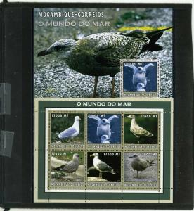 MOZAMBIQUE 2002 Sc#1663,1677 MARINE LIFE/SEA BIRDS SHEET OF 6 STAMPS & S/S MNH