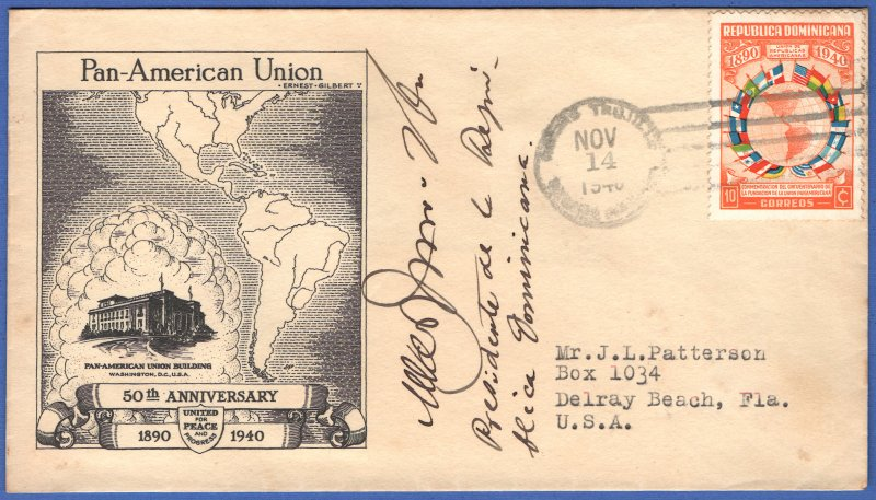 DOMINICAN REPUBLIC 1940 Pan-American Union FDC, Signed by President Trujillo