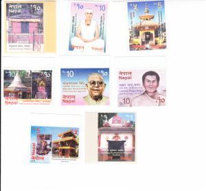 2016 Nepal Visit Nepal / Famous People Part II (8)  (Scott 1018-20,1023-27) MNH
