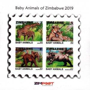Zimbabwe - 2019 Baby Animals MS MNH**