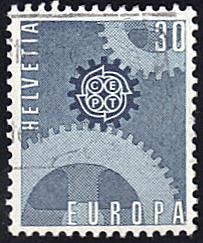 Switzerland # 482 used ~ 30¢ Europa - Gears