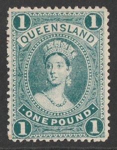 QUEENSLAND : 1907 QV Large Chalon £1 bluish green, wmk crown A.