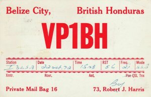 9763 Amateur Radio QSL Card BELIZE CITY BRITISH HONDURAS