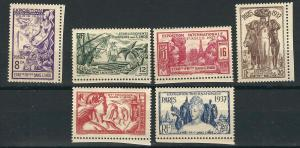 French India 104-09 Yv 109-14 Paris Intl Exhib MLH VF 1937 SCV $11.90