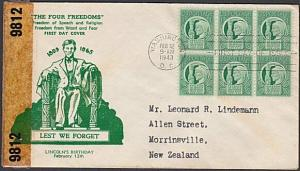 USA 1943 censor FDC to New Zealand - 1c The 4 Freedoms....................57720