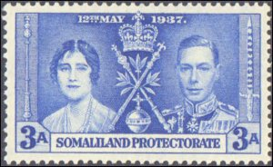 Somaliland Protectorate #81-83 , Complete Set(3), 1937, Royality, Never Hinged
