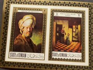 O) 1980 OMAN, REMBRANDT, PAINTING, MAN WITH TURBAN, PETER DE HOOCH, THE PANTR