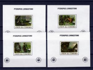 Comoro Is.2009 WWF Livingstone's Fruit Bat 4 S/S MNH VF