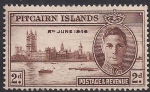 Pitcairn Islands 1946 KGV1 2d Brown Victory Umm SG 9 ( F659 )